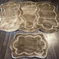 ROMANY WASHABLES TRAVELLER MATS SETS OF 4 NON SLIP TOURER SIZE THICK DARK BEIGE
